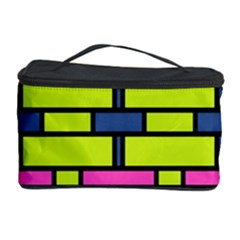 Pink Green Blue Rectangles Pattern Cosmetic Storage Case
