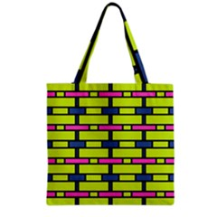 Pink Green Blue Rectangles Pattern Grocery Tote Bag