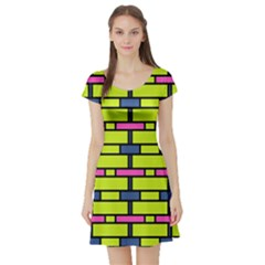 Pink Green Blue Rectangles Pattern Short Sleeve Skater Dress