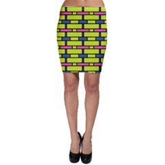 Pink green blue rectangles pattern Bodycon Skirt