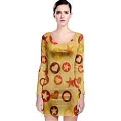 Shapes on vintage paper Long Sleeve Bodycon Dress