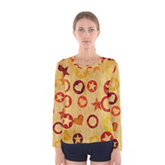 Shapes on vintage paper Women Long Sleeve T-shirt