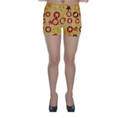 Shapes on vintage paper Skinny Shorts