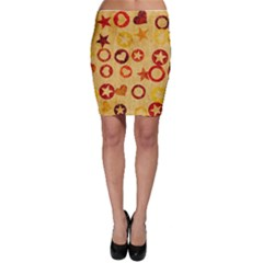 Shapes on vintage paper Bodycon Skirt