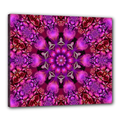 Pink Fractal Kaleidoscope  Canvas 24  X 20  (framed)