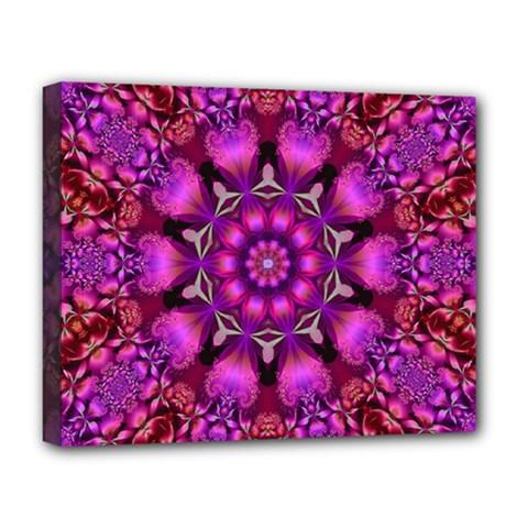 Pink Fractal Kaleidoscope  Deluxe Canvas 20  X 16  (framed)