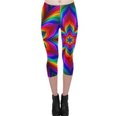 Rainbow Flower Capri Leggings