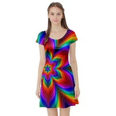 Rainbow Flower Short Sleeve Skater Dress