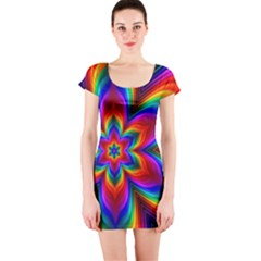 Rainbow Flower Short Sleeve Bodycon Dress