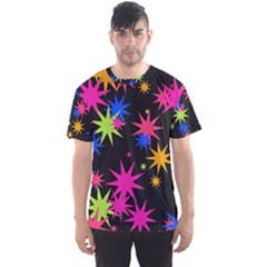 Colorful Stars Pattern Men s Sport Mesh Tee