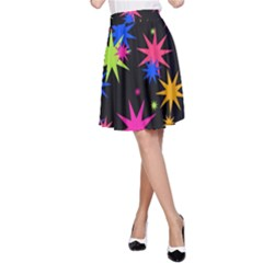 Colorful Stars Pattern A Line Skirt