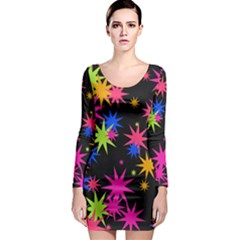 Colorful stars pattern Long Sleeve Bodycon Dress