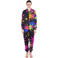 Colorful stars pattern Hooded OnePiece Jumpsuit