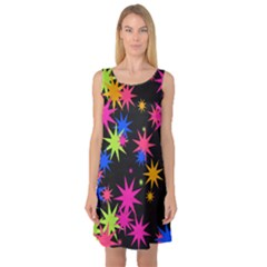 Colorful stars pattern Sleeveless Satin Nightdress