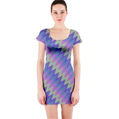 Diagonal chevron pattern Short sleeve Bodycon dress