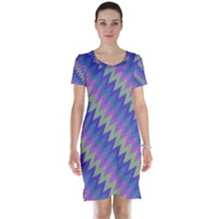 Diagonal Chevron Pattern Short Sleeve Nightdress