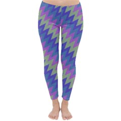 Diagonal chevron pattern Winter Leggings