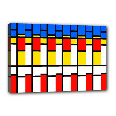 Colorful Rectangles Pattern Canvas 18  X 12  (stretched)