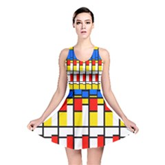 Colorful rectangles pattern Reversible Skater Dress