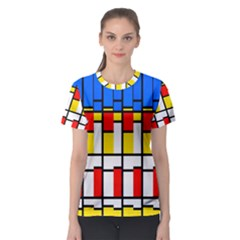 Colorful Rectangles Pattern Women s Sport Mesh Tee