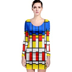 Colorful rectangles pattern Long Sleeve Bodycon Dress