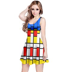 Colorful rectangles pattern Sleeveless Dress