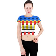 Colorful rectangles pattern Crew Neck Crop Top