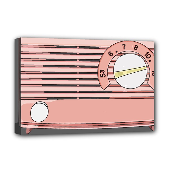 Pink Retro Radio Deluxe Canvas 18  x 12  (Framed)