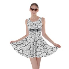 Cracked Abstract Print Texture Skater Dress