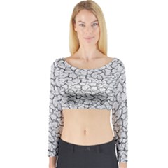 Cracked Abstract Print Texture Long Sleeve Crop Top (Tight Fit)
