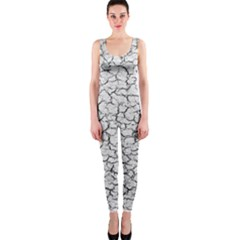 Cracked Abstract Print Texture Onepiece Catsuit