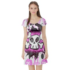 Cartoon Skull  Short Sleeve Skater Dress