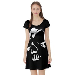 Gothic Skull Short Sleeve Skater Dress