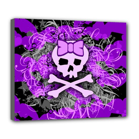 Purple Girly Skull Deluxe Canvas 24  X 20  (framed)