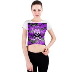Purple Girly Skull Crew Neck Crop Top