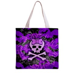 Purple Girly Skull Grocery Tote Bag