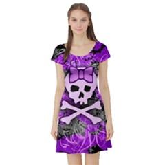 Purple Girly Skull Short Sleeve Skater Dress