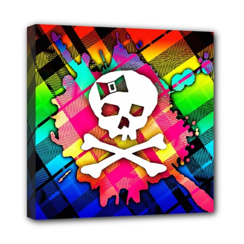 Rainbow Plaid Skull Mini Canvas 8  X 8  (framed)