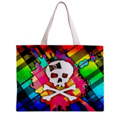 Rainbow Plaid Skull Tiny Tote Bag