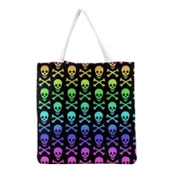 Rainbow Skull and Crossbones Pattern Grocery Tote Bag