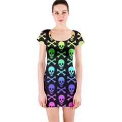 Rainbow Skull And Crossbones Pattern Short Sleeve Bodycon Dress