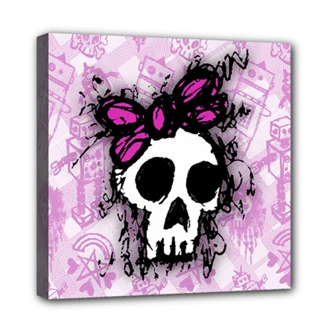 Sketched Skull Princess Mini Canvas 8  X 8  (framed)