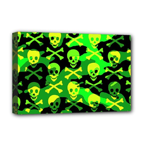 Skull Camouflage Deluxe Canvas 18  X 12  (framed)