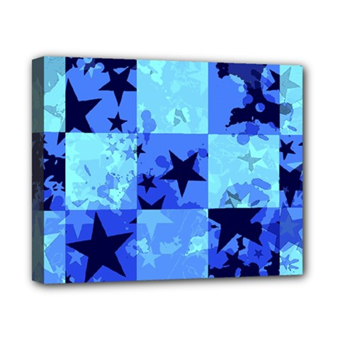 Blue Star Checkers Canvas 10  X 8  (framed)