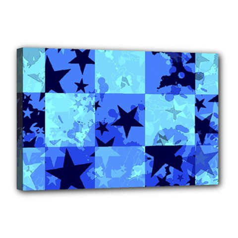 Blue Star Checkers Canvas 18  X 12  (framed)