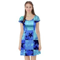 Blue Star Checkers Short Sleeve Skater Dress