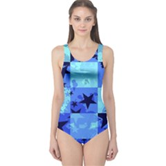 Blue Star Checkers One Piece Swimsuit
