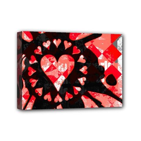 Love Heart Splatter Mini Canvas 7  X 5  (framed)