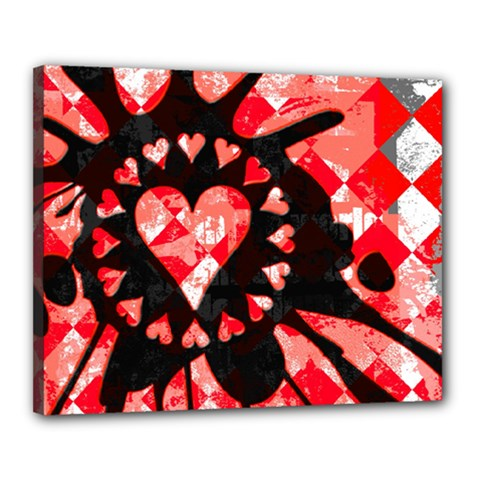 Love Heart Splatter Canvas 20  X 16  (framed)
