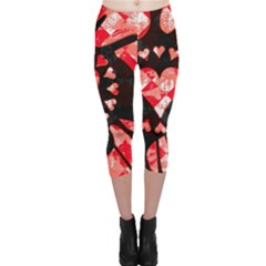 Love Heart Splatter Capri Leggings